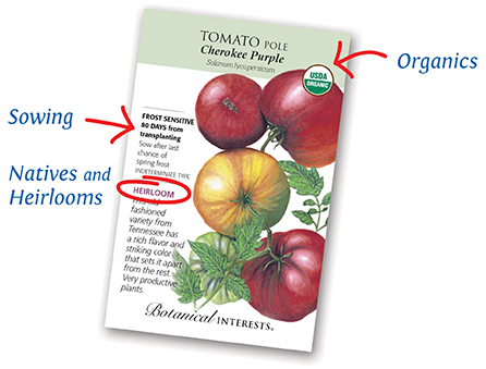 Front Packet image showing Organic, Sowing, Heirloom, and Native identifiers
