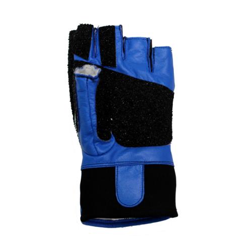 DISC  Creedmoor Topgrip Leather Black/Blue Open Finger Glove