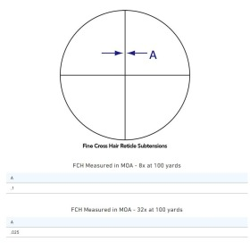 Sightron Scope SIII Long Range Side Focus with Fine Cross Hair Crosshair Dimensions