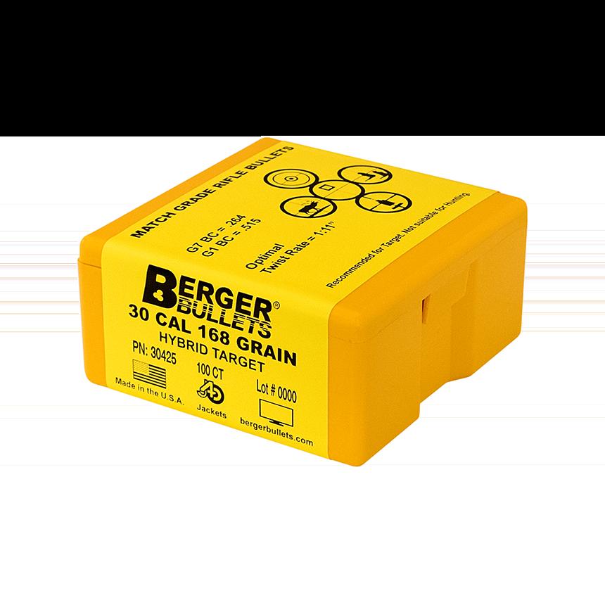 Berger 30 Cal 168 Gr Hybrid Target Bullets (100 Ct)