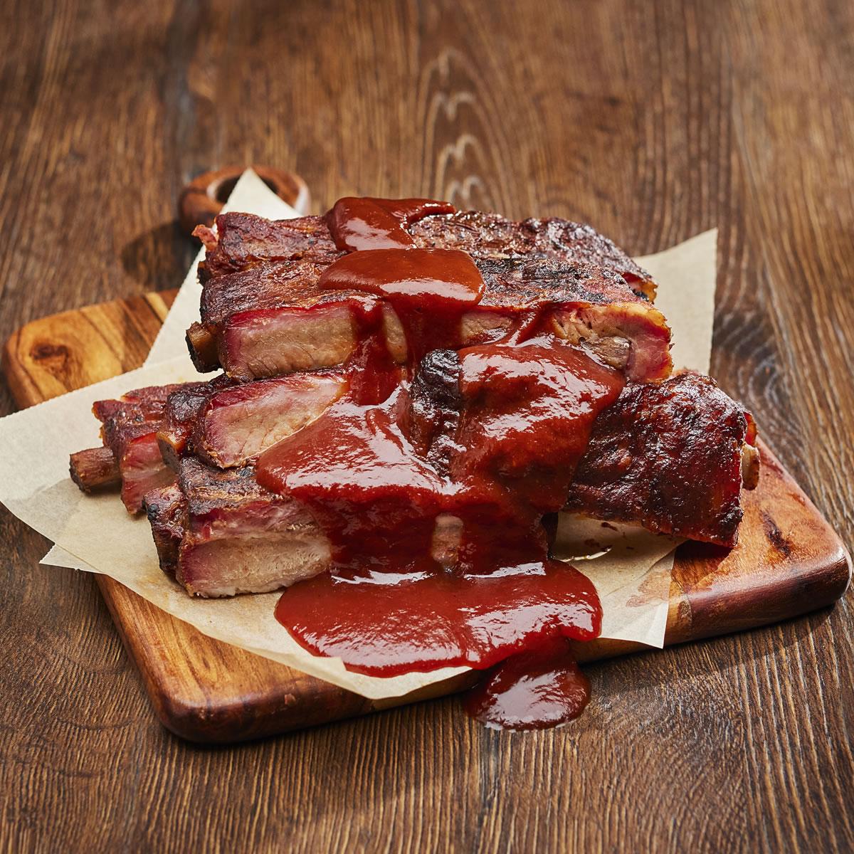 Pork Spare Ribs, Sauced 1/2 Slab