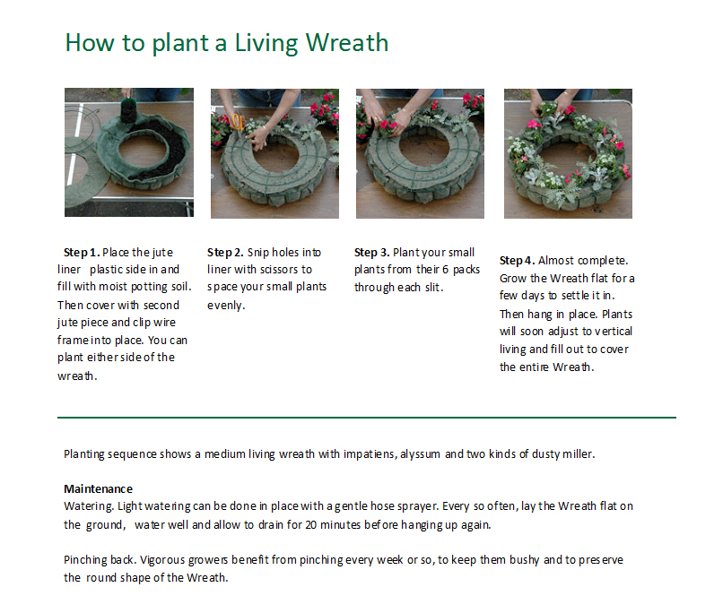 Living Wreath Planting Instructions