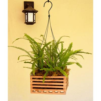 8 Inch Square Wooden Basket Planter