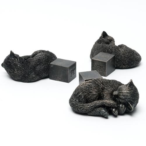 Antique Bronze Sleeping Cat Pot Feet (Set of 3)