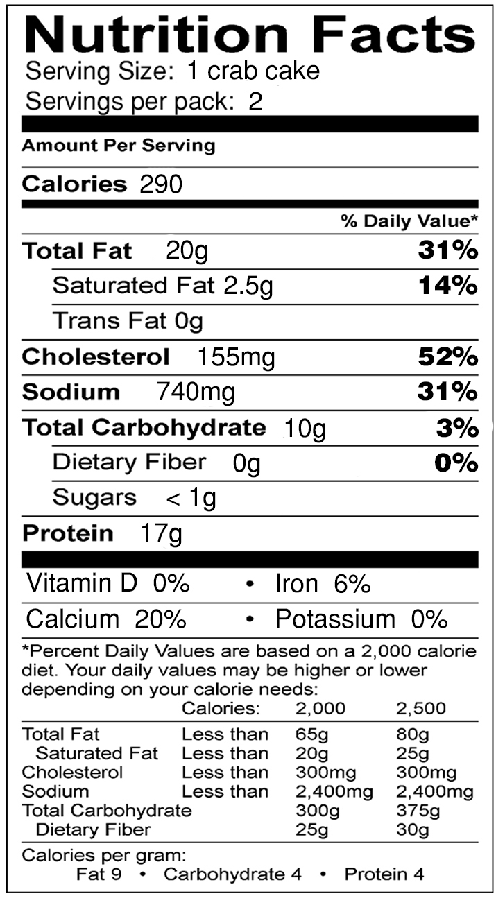 Crab Cakes Nutrition Info