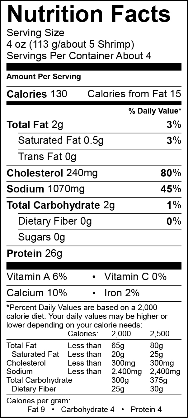 Raw Shrimp Nutrition Info