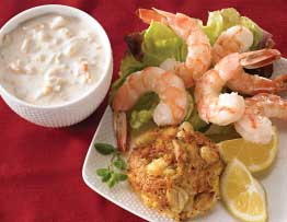 Shrimp Cocktail, Crab Cakes, and Clam Chowder