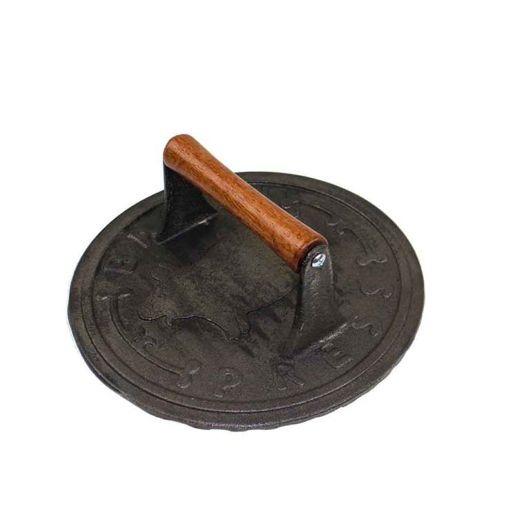 "8.75"" Cast Iron Round Bacon Press"