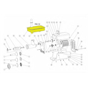 Schematic - Stainless Steel Meat Pan for # 22 Big Bite Grinder # 781