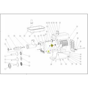 Schematic - Step Gear with 2 Bearings for # 5 Big Bite Grinder # 777