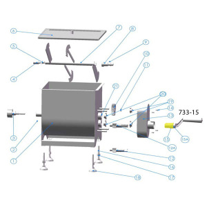 Schematic - Handle for Slotted Shaft for 25 lb. and 50 lb. Mixer # 733, # 733A, # 734 & # 734A