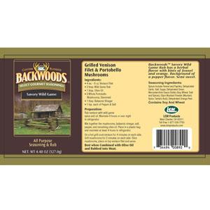 Backwoods Savory Wild Game Rub Label
