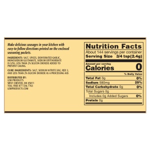 Backwoods Trail Bologna Kit - Makes 20 lbs. - Nutritional Info