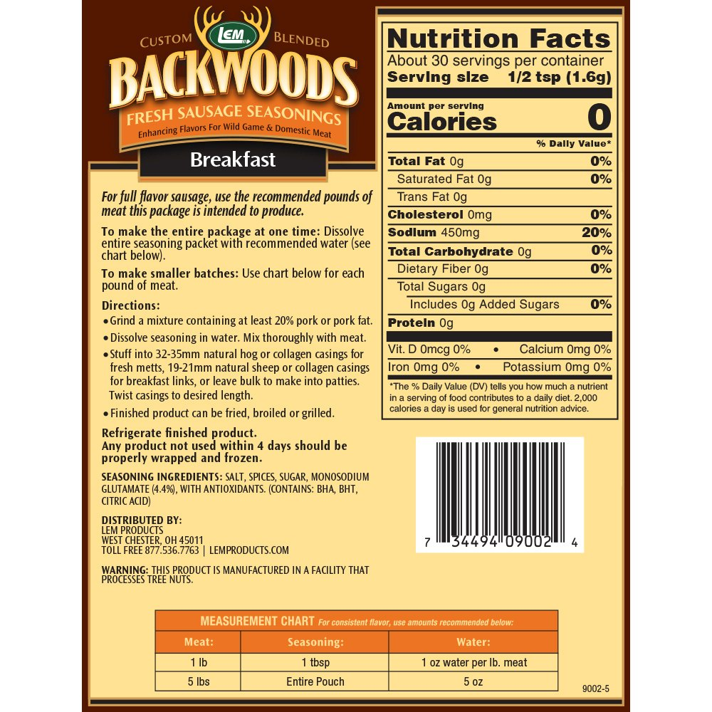 Backwoods Breakfast Fresh Sausage Seasoning - Makes 5 lbs. - Directions & Nutritional Info