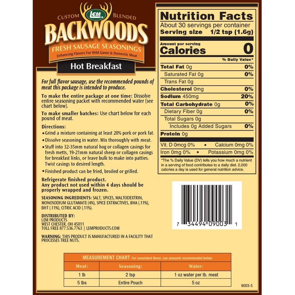 Backwoods Hot Breakfast Fresh Sausage Seasoning - Makes 5 lbs. - Directions & Nutritional Info