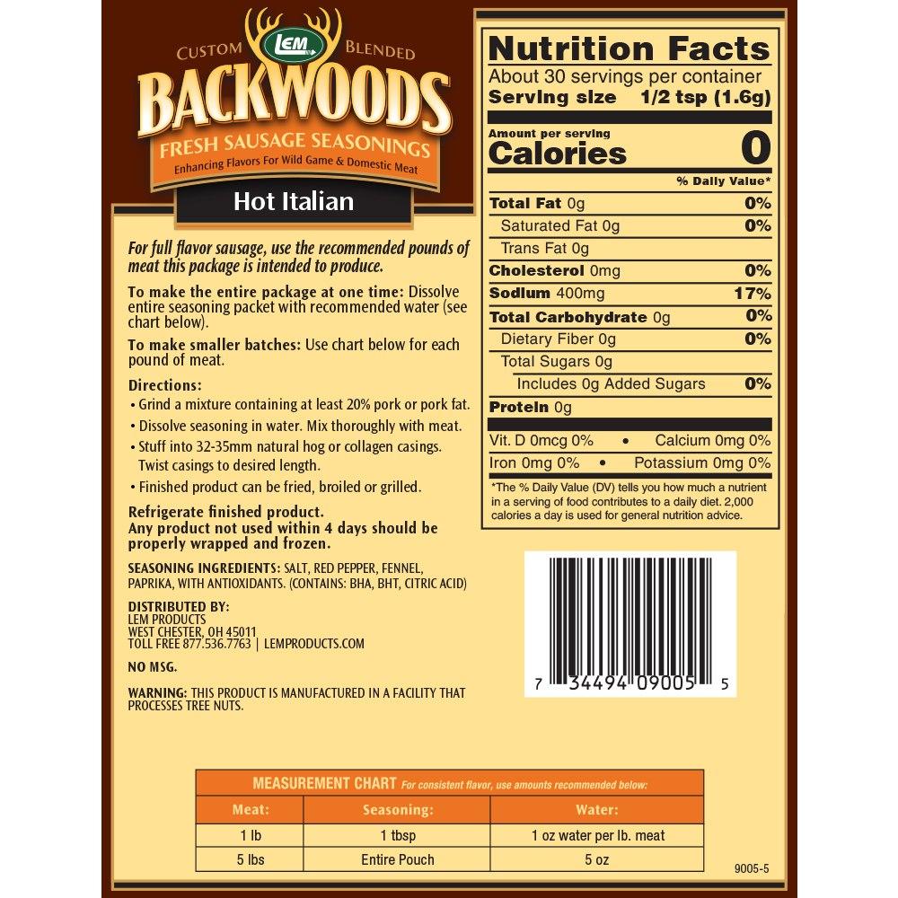 Backwoods Hot Italian Fresh Sausage Seasoning - Makes 5 lbs. - Directions & Nutritional Info