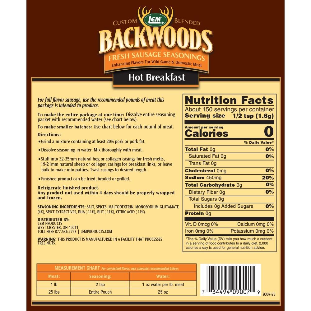 Backwoods Hot Breakfast Fresh Sausage Seasoning - Makes 25 lbs. - Directions & Nutritional Info