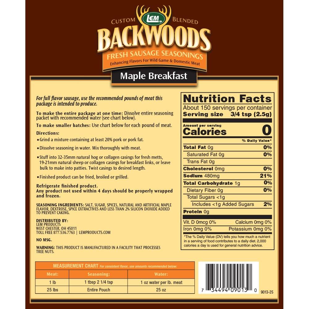 Backwoods Maple Breakfast Fresh Sausage Seasoning - Makes 25 lbs. - Directions & Nutritional Info