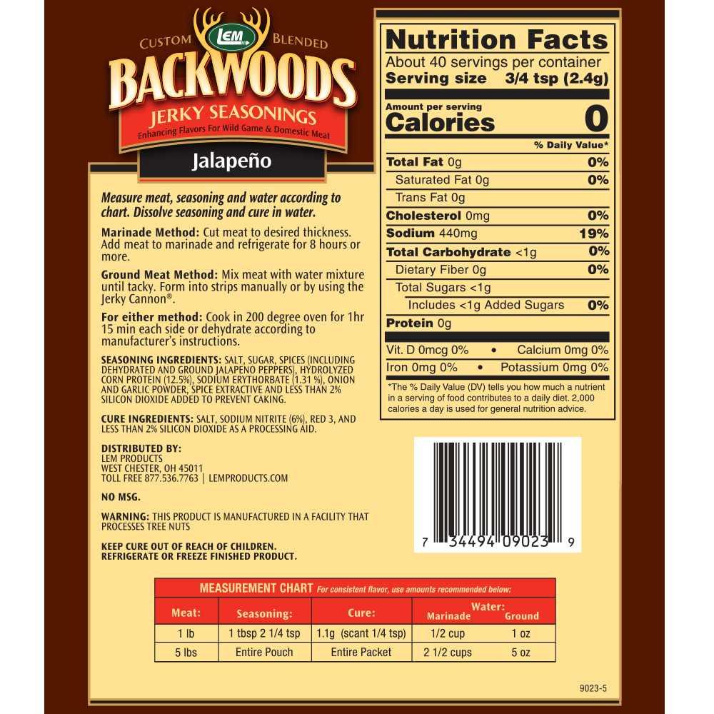 Backwoods Jalapeno Jerky Seasoning - Makes 5 lbs. - Directions & Nutritional Info
