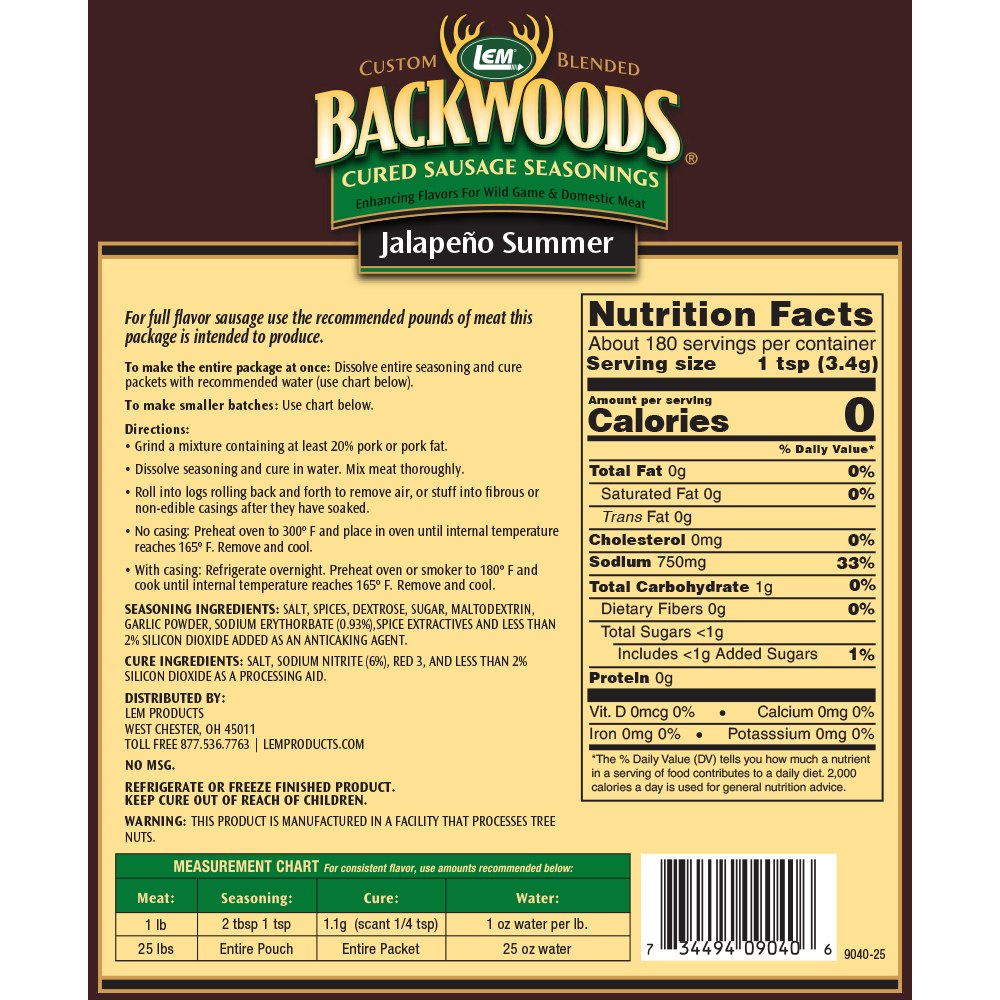 Backwoods Jalapeno Summer Cured Sausage Seasoning - Makes 25 lbs. - Directions & Nutritional Info