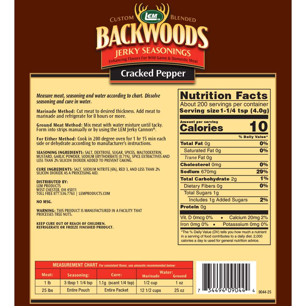 Backwoods Cracked Pepper Jerky Seasoning - Makes 25 lbs. - Directions & Nutritional Info