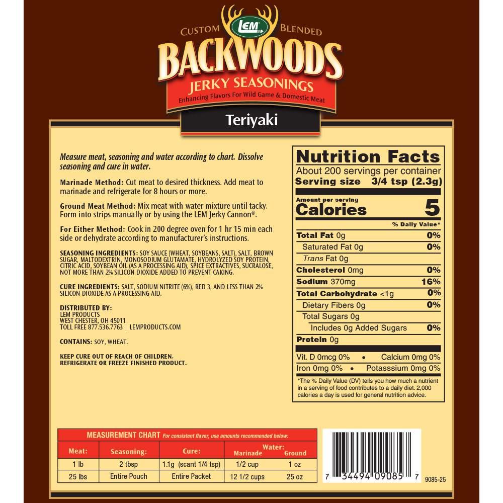 Backwoods Teriyaki Jerky Seasoning - Makes 25 lbs. - Directions & Nutritional Info