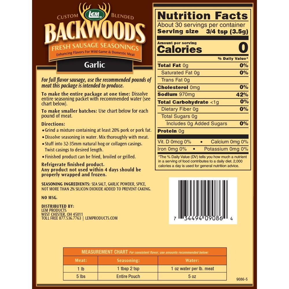 Backwoods Garlic Fresh Sausage Seasoning - Makes 5 lbs. - Directions & Nutritional Info