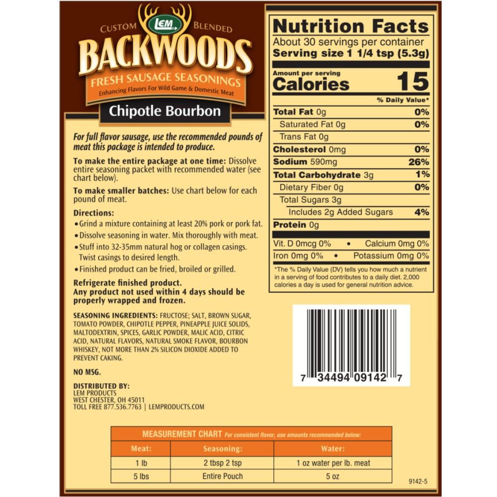 Backwoods Chipotle Bourbon Fresh Sausage Seasoning - Back