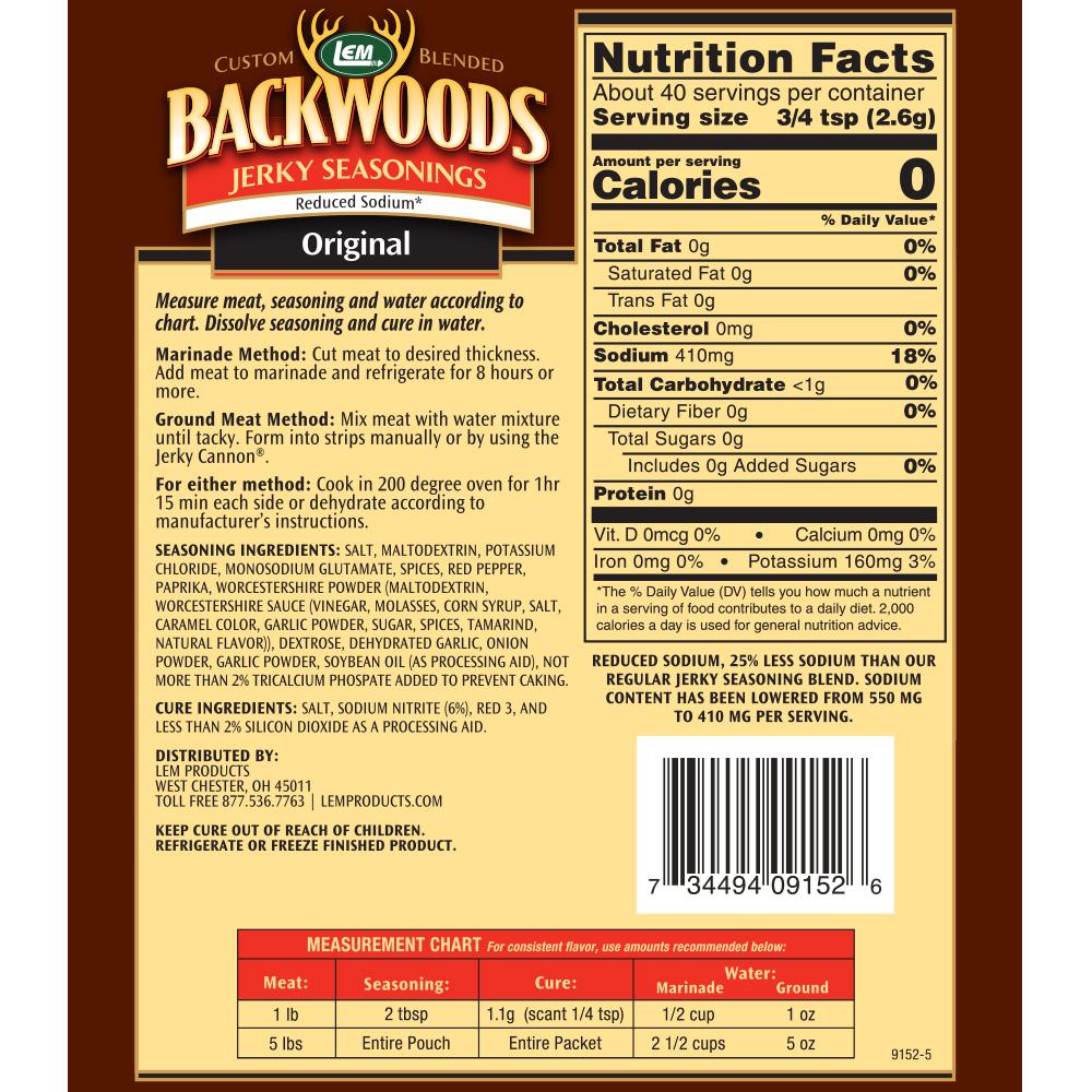 Backwoods Reduced Sodium Original Jerky Seasoning