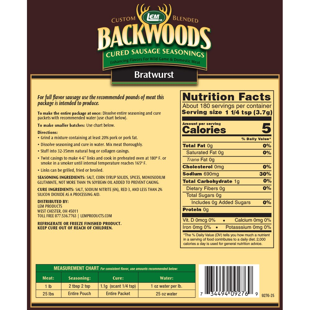 Backwoods Bratwurst Cured Sausage Seasoning - Makes 25 lbs. - Directions & Nutritional Info