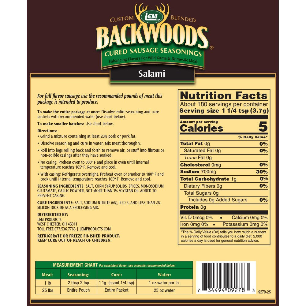 Backwoods Salami Cured Sausage Seasoning - Makes 25 lbs. - Directions & Nutritional Info