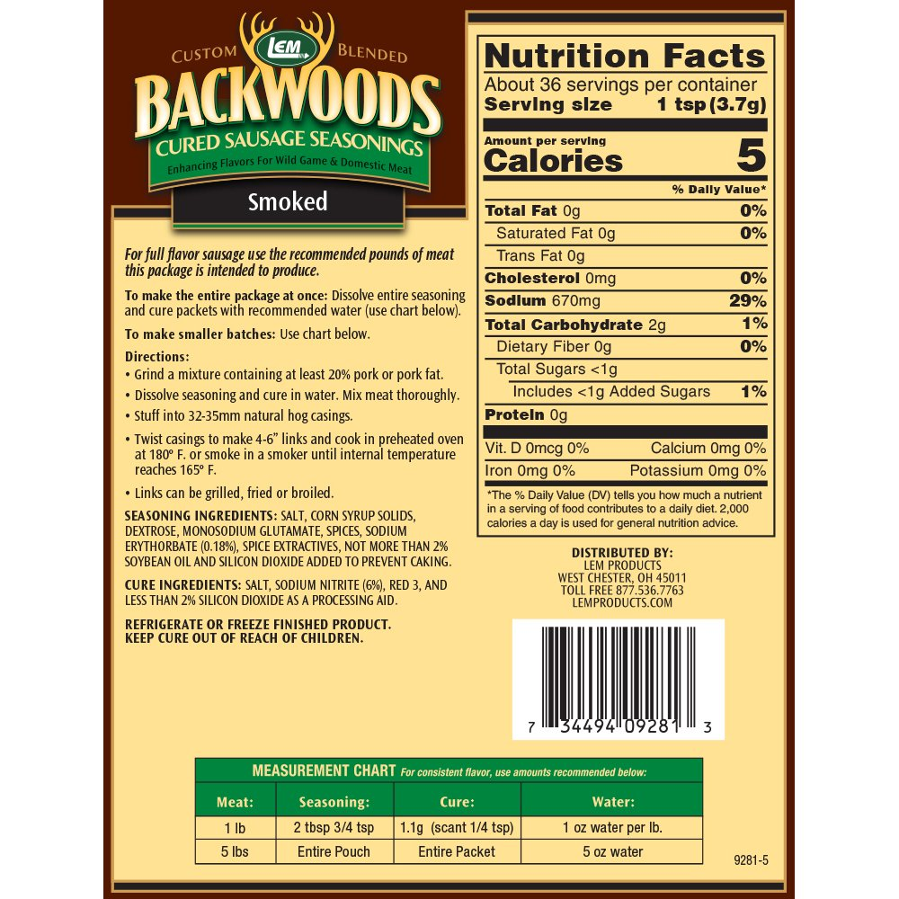 Backwoods Smoked Sausage Cured Sausage Seasoning - Makes 5 lbs. - Directions & Nutritional Info