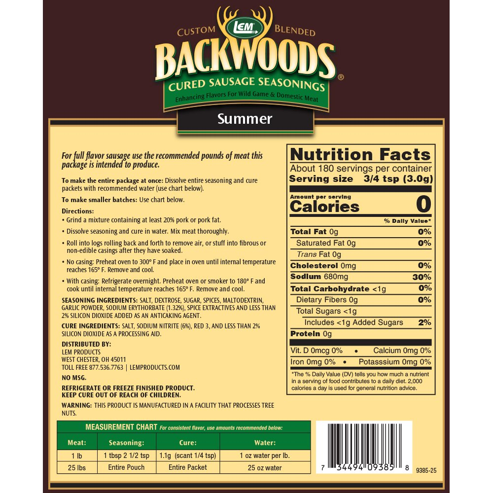 Backwoods Summer Sausage Cured Sausage Seasoning - Makes 100 lbs. - Directions & Nutritional Info