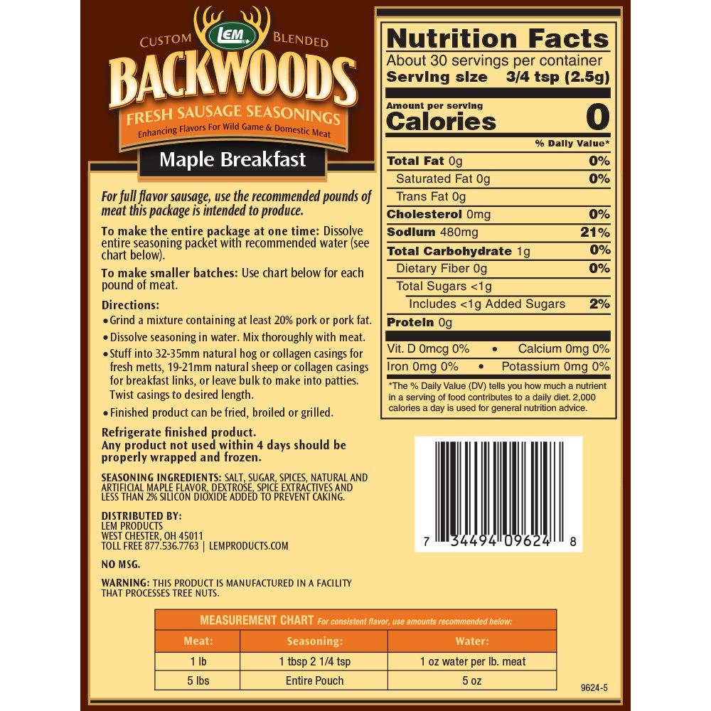 Backwoods Maple Breakfast Fresh Sausage Seasoning - Makes 5 lbs. - Directions & Nutritional Info