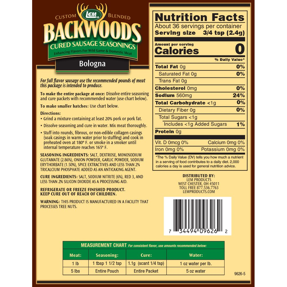 Backwoods Bologna Cured Sausage Seasoning - Makes 5 lbs. - Directions & Nutritional Info