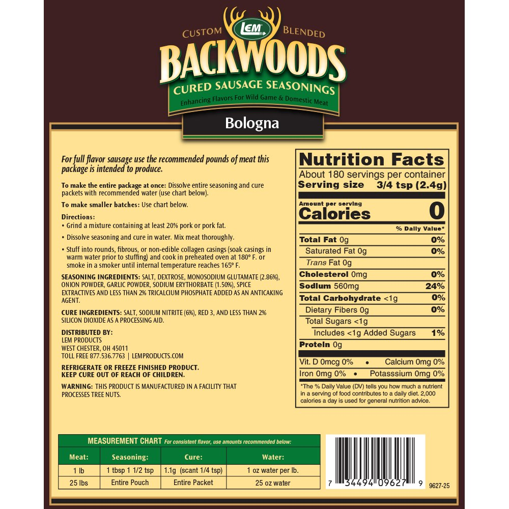 Backwoods Bologna Cured Sausage Seasoning - Makes 25 lbs. - Directions & Nutritional Info