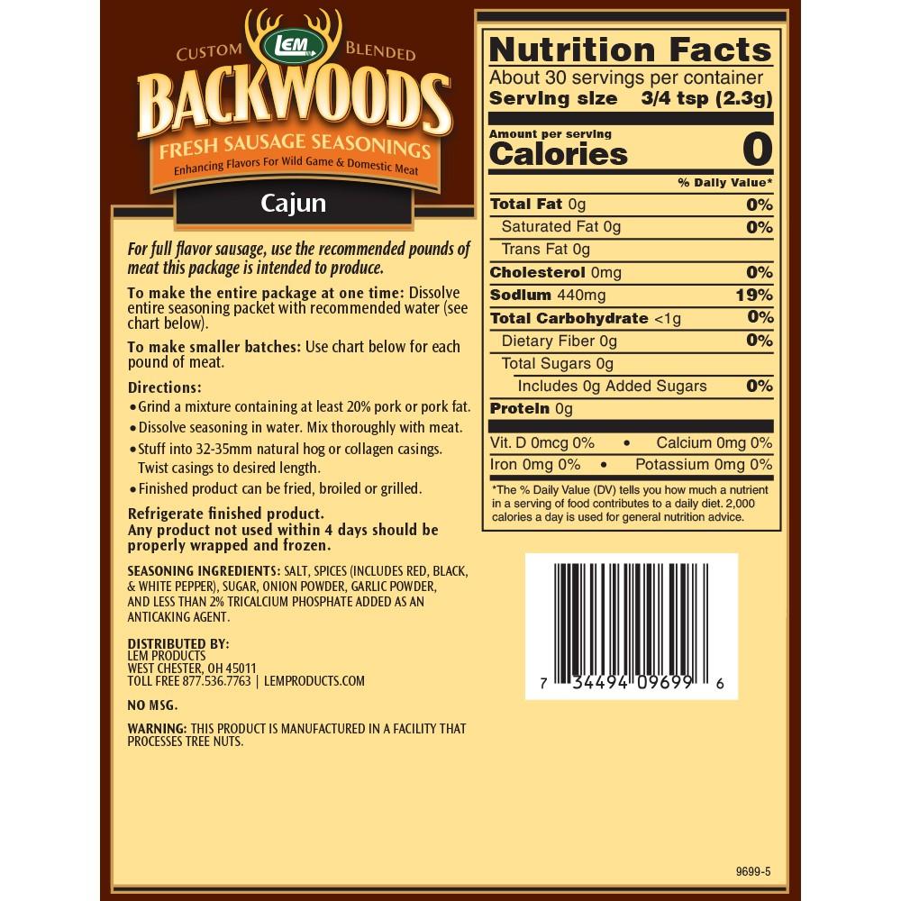 Backwoods Cajun Fresh Sausage Seasoning - Makes 5 lbs. - Directions & Nutritional Info