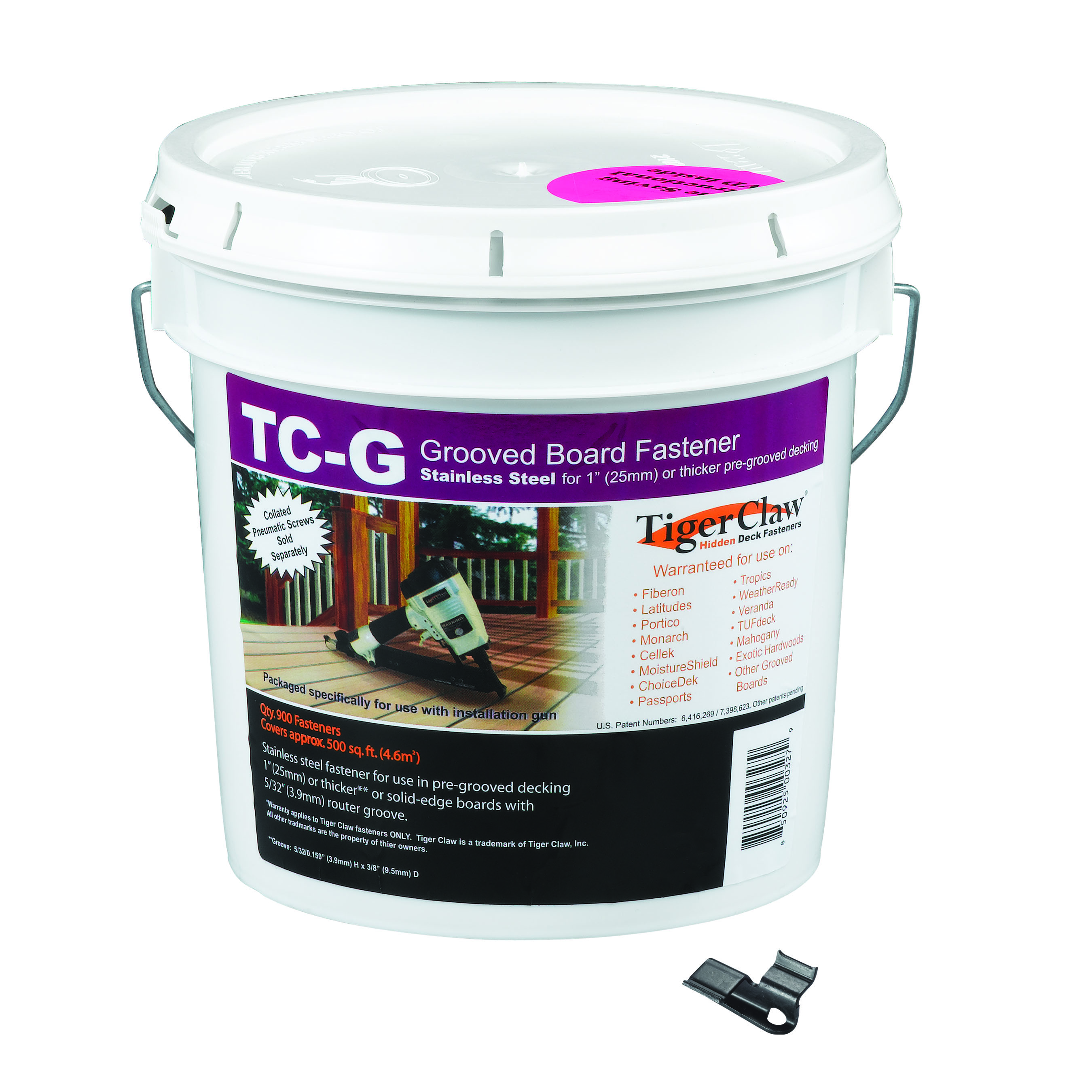 Tiger Claw TC-G Bucket for Grooved Decking, 900 clips
