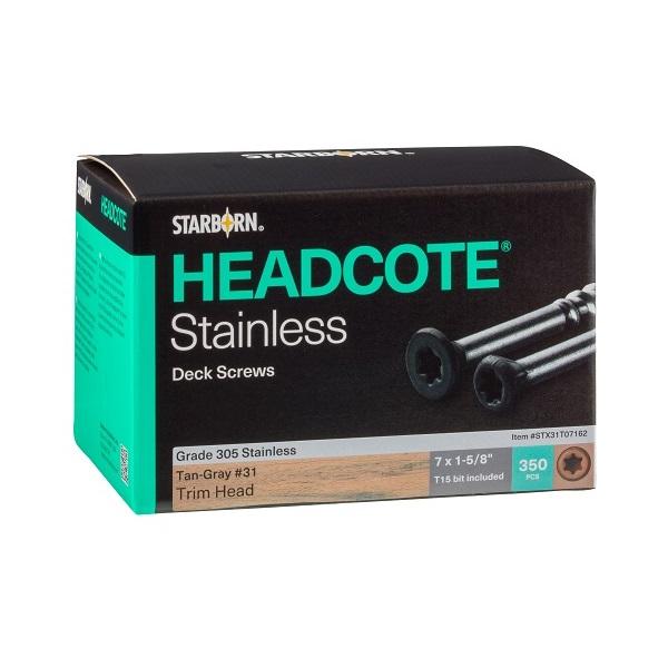 """HEADCOTE® Trim Screw #7 x 1-5/8"""" 305 Stainless Steel"""