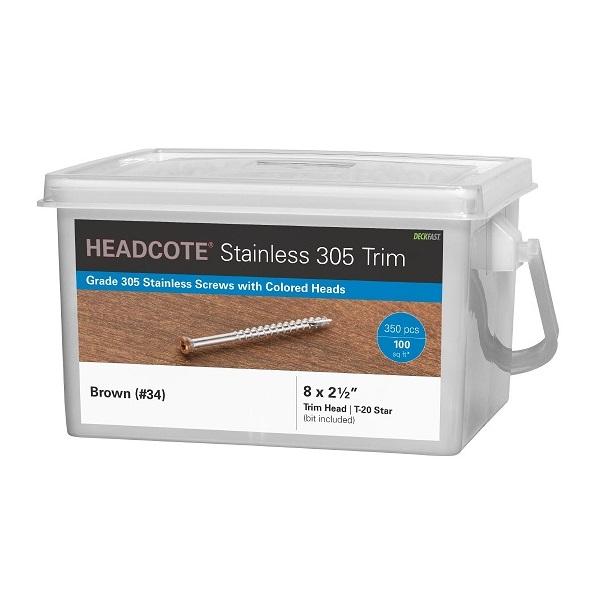 """HEADCOTE® Trim Screw #8 x 2-1/2"""" 305 Stainless Steel"""