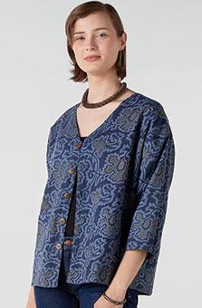Reversible Meghna Jacket - River blue