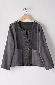 Recycled Yarn Tasleem Jacket - Charcoal