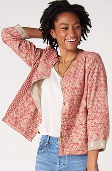 Reversible Harisha Organic/Ikat Jacket - Sunwashed red/Sand