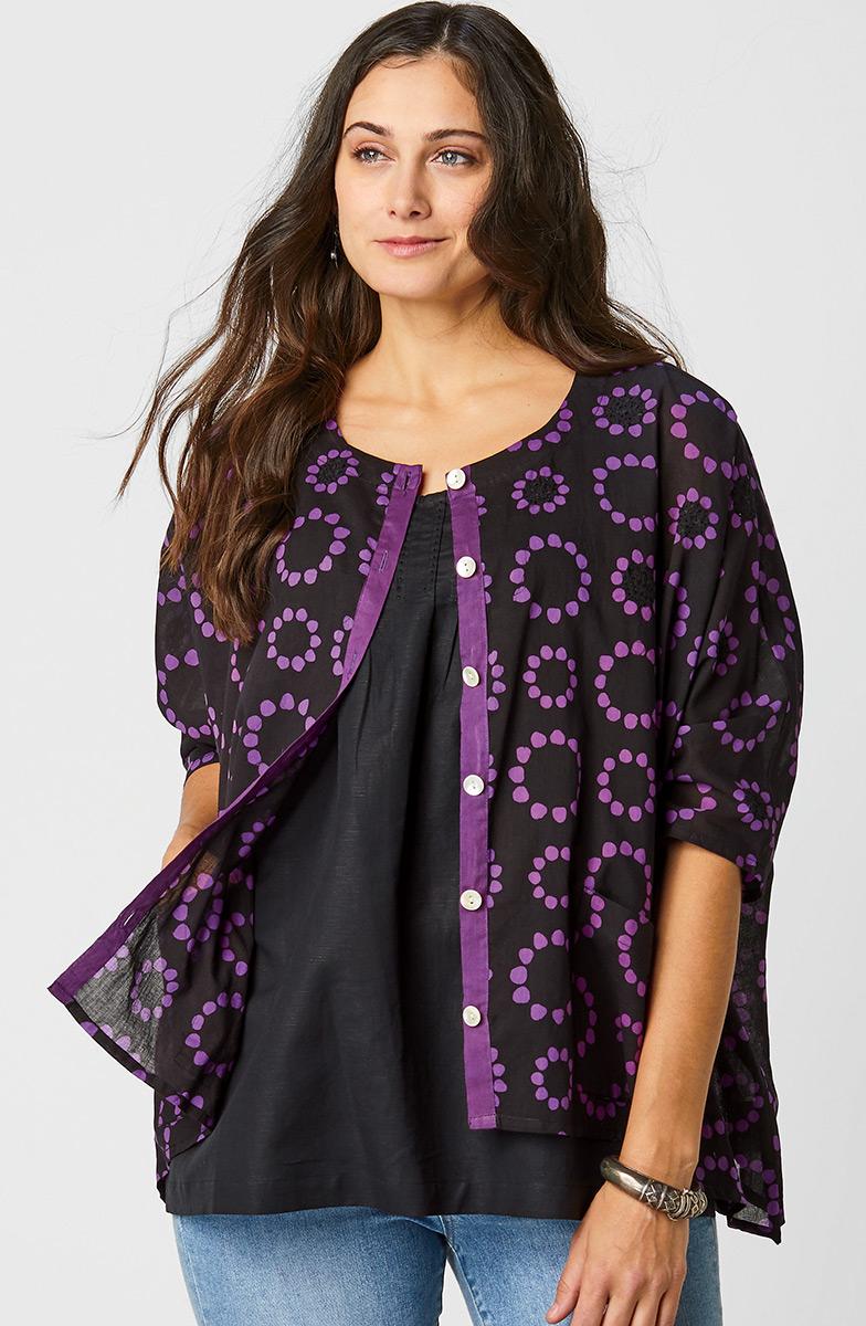 Lavani Shirt - Black/Purple