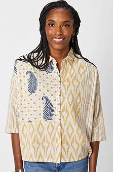 Praveer Shirt - Flax/Indigo