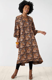 Zarine Dress - Black natural dye/Multi
