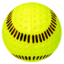 Softballs, Dimpled Machine , Yellow with Red Seam, (By the Dozen)