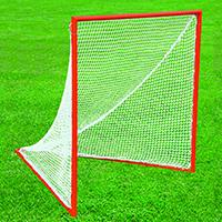 Pair of Official Orange Lacrosse Goals, 6 ft. H x 6 ft. W x 7 ft. D