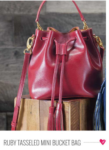 Ruby Tasseled Mini Bucket Bag