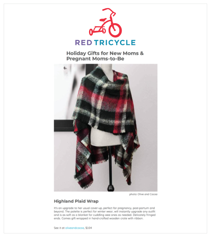 Red Tricycle featured Olive & Cocoa's Highland Plaid Wrap